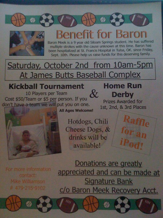 NWA Events: Baron Meed fundraiser, The Titus Task 5K and a garage sale!