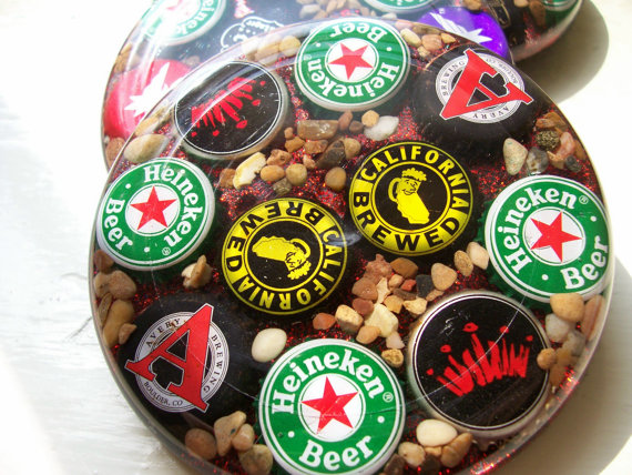 These are durable coasters made from beer bottle caps love this idea