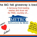 Giveaway: Mamas love Metro Fall Giveaway — Samsung Washer & Dryer!