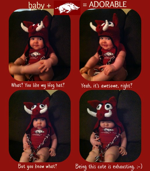 Cute kid alert: Ready for the Hogs to play!