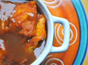 ceri pumpkin bread pudding with caramel sauce