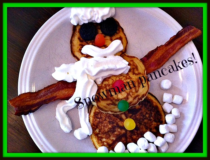 snowman pancakes in frame