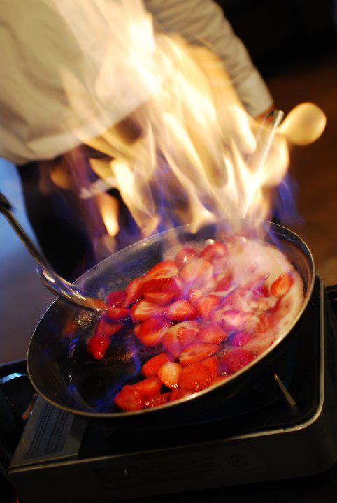Flaming strawberries
