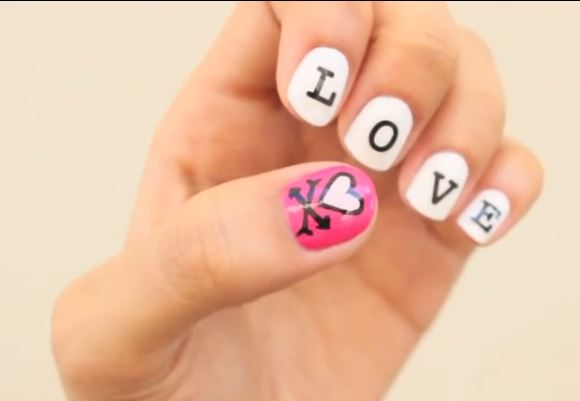 Video give yourself a valentines day manicure we stumbled across this diy nail tutorial on youtube and love nails solutioingenieria Choice Image