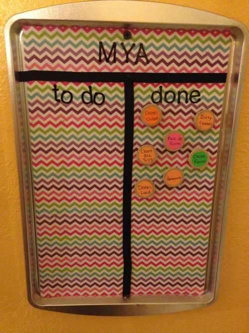 Jennifer's chore chart up close