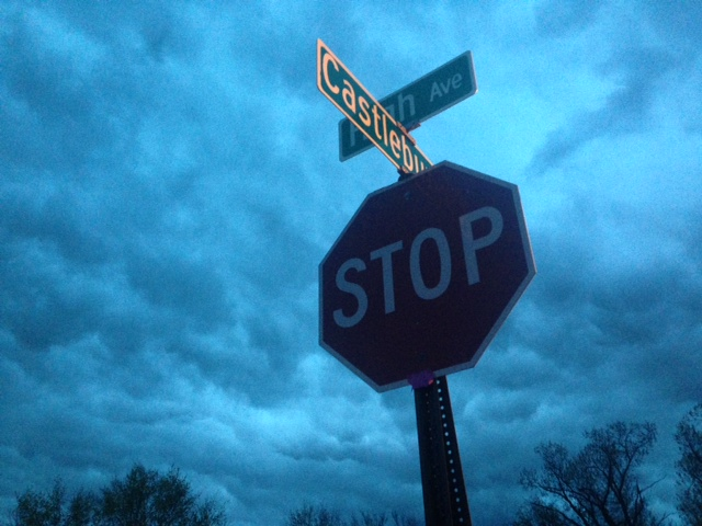 stop sign in storm