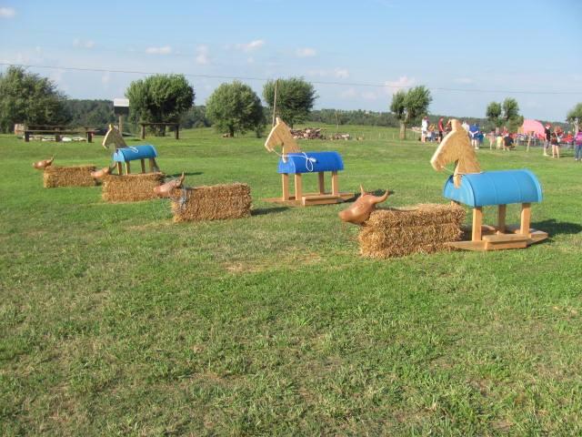 rocking horses at farmland