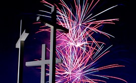 fireworks at the cross