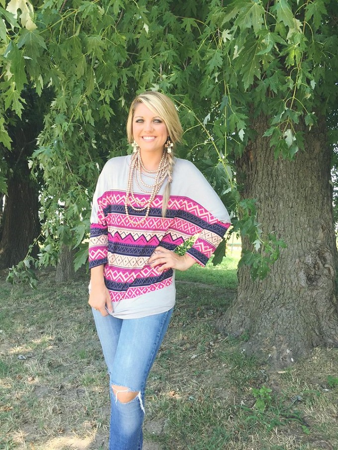 chic gypsy boutique.aztec top, cropped