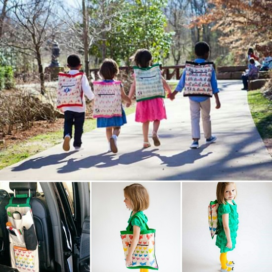 Kids wearing Tot Totes, use