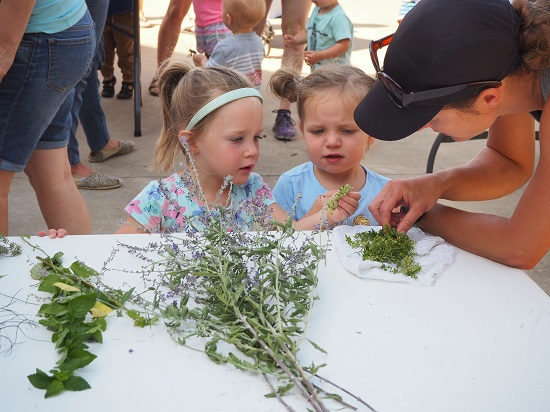 Little girls learning at Little Sprouts, Botanical Garden of the Ozarks, Northwest Arkansas