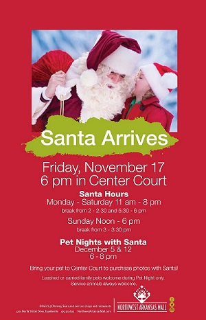 the nwa holiday events guide printable is sponsored by the northwest arkansas mall where santa will be arriving on nov 17th
