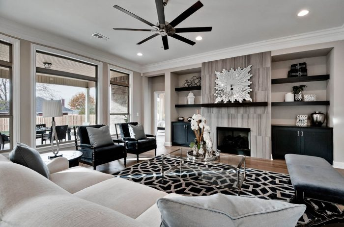 Family Room with built-in bookcases